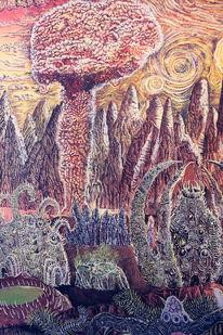 Die atombombe, Explosion, Das ende, Ölmalerei