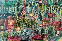 Van gogh, Kirche, Surreal, Malerei
