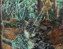 Herbstwald, Zauberwald, Fluss, Mystik