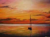 Meer, Boot, Gelb, Sonnenuntergang