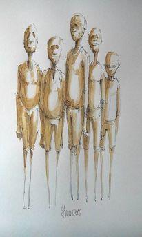 Kaffee, Aquarellmalerei, Figural, Freunde