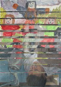 Eine mutter, Eine hebamme, Drei mädchen, Malerei