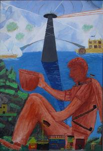 Schiff, Turm im wasser, Gestade, Sitzendes monument