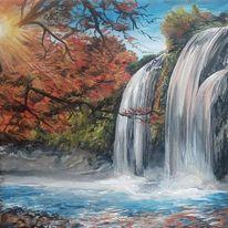 Sonne, Wasser, Herbst, Malerei