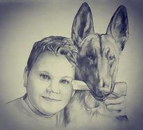 Kind, Portrait, Zeichnung, Junge