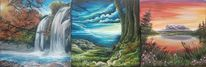 Landschaft, Welle, Baum, Malerei