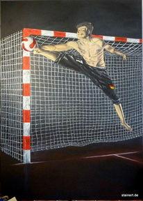 Torwart, Realismus, Acrylmalerei, Handball