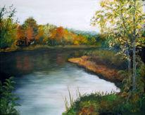 Fluss, Landschaft, Ufer, Acrylmalerei
