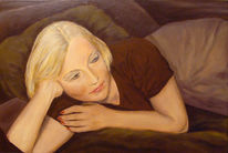 Frau, Acrylmalerei, Ruhe, Erwartung