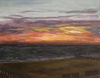 Wolken sonnenuntergang, Meer, Strand, Malerei