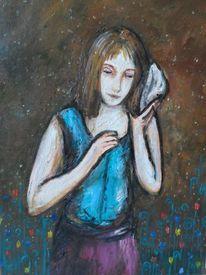Mädchen, Muschel, Malerei