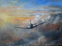 Zwielicht, Flugzeug, Sonnenuntergang, Malerei