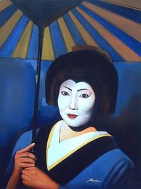Japan, Portrait oil ukiyo, Geisha, Malerei
