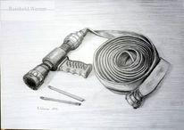 Bleistiftzeichnung, Feuerwehr, Zeichnungen, Schlauch