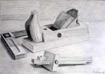 Tischler, Streichmaß, Schreiner, Bleistiftzeichnung