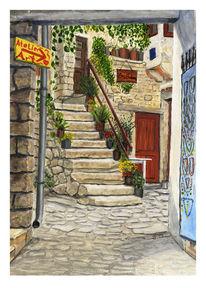 Straßen szene, Rovinj, Altstadt, Zeichnungen