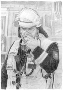 Feuer, Bleistiftzeichnung, Kämpfer, Einsatzleiter