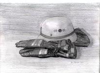 Bleistiftzeichnung, Handschuhe, Feuerwehr, Zeichnungen