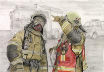 Realismus, Colorierte zeichnung, Bleistiftzeichnung, Feuerwehr