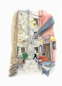 Cafe, Stadt, Gaststätte, Kroatien