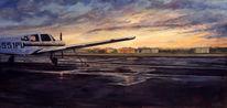 Storm, Sonnenuntergang, Gemälde, Flughafen