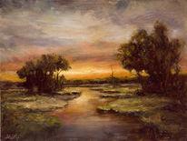Landschaft, Sonne, Fluss, Baum
