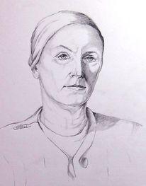 Frau, Bleistiftzeichnung, Portrait, Zeichnung