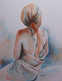 Aquarellmalerei, Akt, Rücken, Mädchen