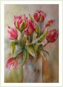 Blüte, Vase, Grün, Rot