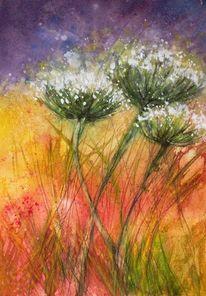 Sommerlich, Aquarellmalerei, Natur, Wiesenblumen