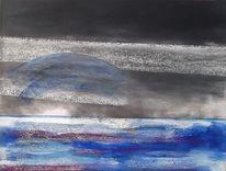 Pastellmalerei, Blau, Meer, Grau