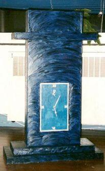 Blaue uhr, Jac koch, Uhr, Malerei