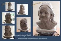 Frauenportrait, Ton skulptur, Skulptur, Kopf büste