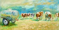 Kuh, Tiere, Landschaft, Gemälde