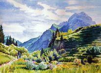 Berge, Baad, Natur, Aquarellmalerei