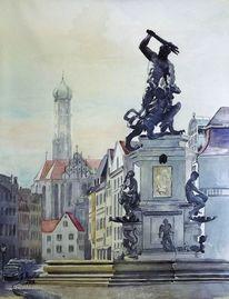 Moritzplatz, Lech, Aquarellmalerei, Wertach