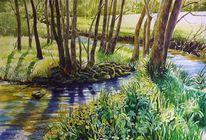 Aquarellmalerei, Schloßau, Landschaft, Natur
