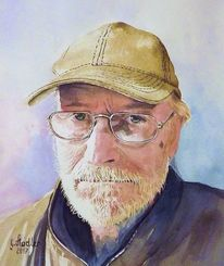 Malerei, Mudau, Selbstportrait, Brille