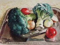 Zwiebeln, Essen, Aquarellmalerei, Gemüse