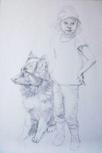 Hund, Odenwald, Wandmalerei, Bleistiftzeichnung