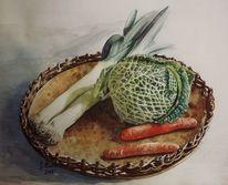 Wirsing, Mahlzeit, Tablett, Aquarellmalerei