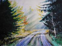 Herbst, Sonnenschein, Aquarellmalerei, Luft