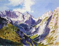 Aquarellmalerei, Natur, Schloßau, Landschaft