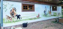 Wandmalerei, Huhn, Hauswand, Kind