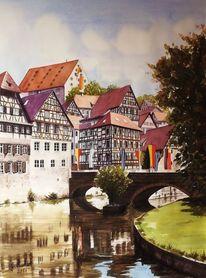 Odenwald, Mosbach, Nok, Aquarellwelt