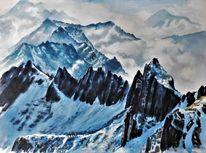 Schnee, Bergsteigen, Aquarellmalerei, Licht