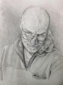 Realismus, Selbstportrait, Stirnrunzeln, Zeichnung