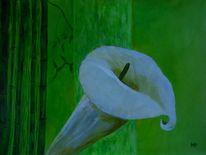 Grün weiß gelb, Calla, Bambus, Malerei