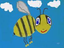Biene, Fliegen, Himmel, Tiere