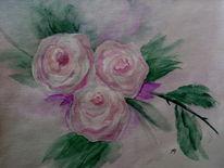 Aquarellmalerei, Zart, Zweig, Rose